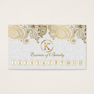 White & Gold Paisley Lace Loyalty Card