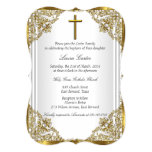 White Gold Pearl Damask Cross Baptism Christening 5x7 Paper Invitation Card