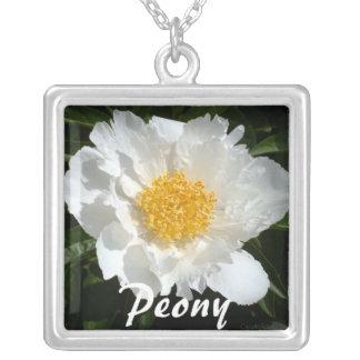 White Gold Peony Square Pendant Necklace