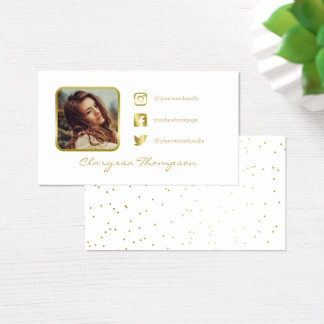 White & Gold Photo Social Media Business Card