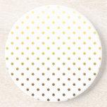 White Gold Polka Dot Beverage Coaster