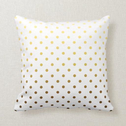 White Gold Polka Dot Throw Pillow Zazzle