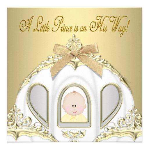 white gold prince baby shower invitations square invitation