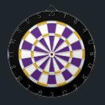 "White, Gold, Purple, And Black Dart Board<br><div class=""desc"">White,  Gold,  Purple,  And Black Colored Dart Board Game Including 6 Brass Darts</div>"