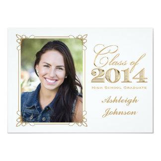 White, Gold, Red 2014 Photo Graduation Invite