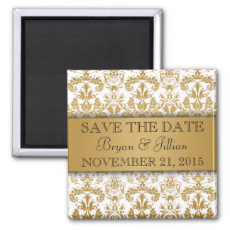 White & Gold Regal Damask Flourish Save the Date 2 Inch Square Magnet
