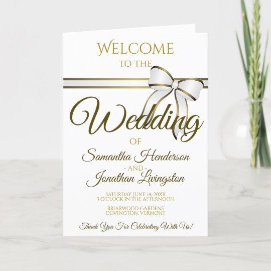 White & Gold Ribbon & Bow Wedding Program