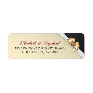 White & Gold Ribbon Diamond Wedding Address Labels