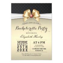 White Gold Ribbon Red Diamond Bachelorette Party Card