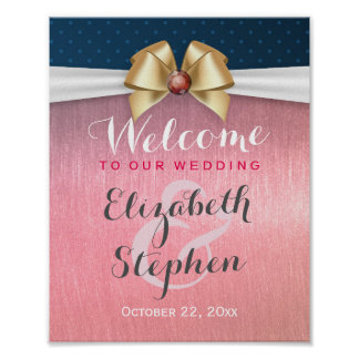 White Gold Ribbon Red Diamond Wedding Sign Poster