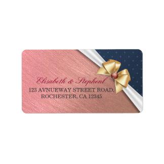 White Gold Ribbon Rose Gold Wedding Address Labels