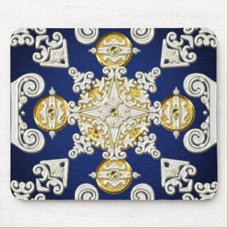White & Gold Rococo Star on Dark Blue Mouse Pad