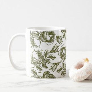 White Gold Rose Etching Coffee Mug
