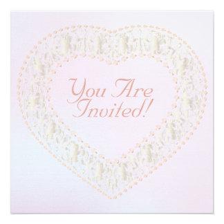 White Gold & Rose Heart Rainbow-Wedding Invitation