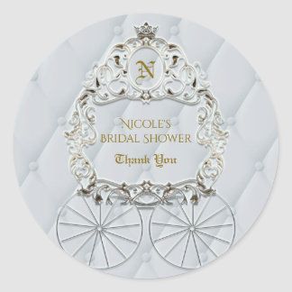 white u0026amp gold royal crown carriage cinderella favor classic round sticker