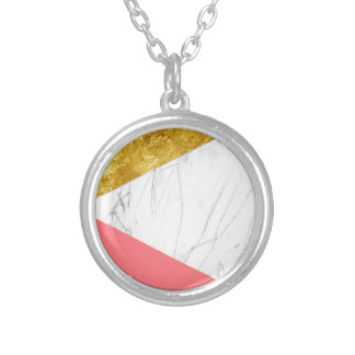 White Gold Salmon Marble Silver Plated Necklace