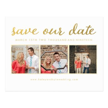 White Gold Script Save Our Date Photo Postcard