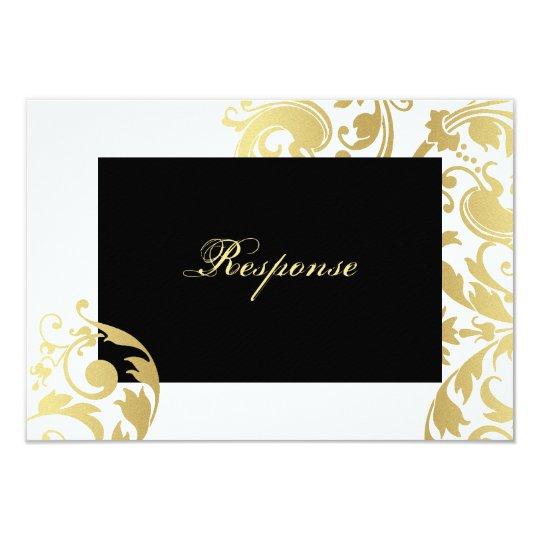 White & Gold Shimmer Floral Wedding Response RSVP Card