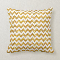 White Gold Shining Faux Glitter Chevron Pattern Throw Pillow
