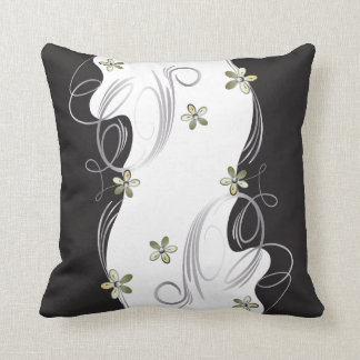 White, Gold, Silver, Black Floral Design Throw Pillow
