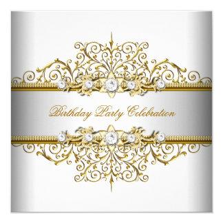 White Gold Silver Cream Elegant Party Invitation