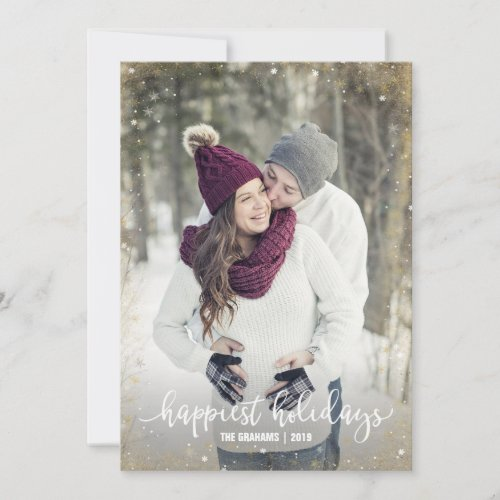 White Gold Silver Snowflake Photo Christmas Cards