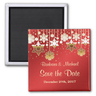 White gold snowflakes on red Save the Date Magnet