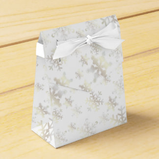 White Gold Snowflakes on White Ribbon Favor Box