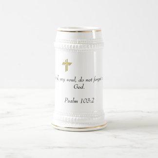 White/Gold Stein with Scripture
