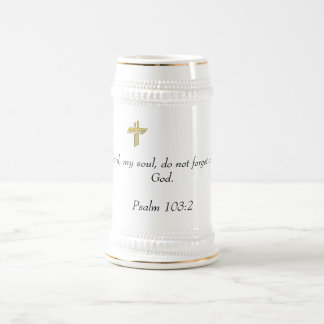 White/Gold Stein with Scripture 18 Oz Beer Stein