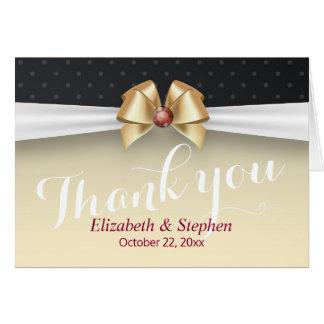 White & Gold Stripe Ribbon Wedding Thank You Card
