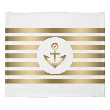 White & Gold Stripes & Nautical Boat Anchor Duvet Cover