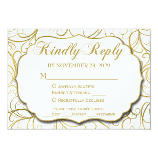 White Gold Swirl RSVP Wedding Response w/ Meal Card