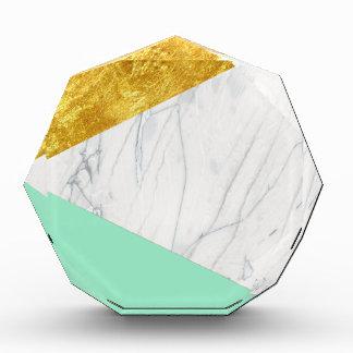 White Gold Teal Marble Acrylic Award