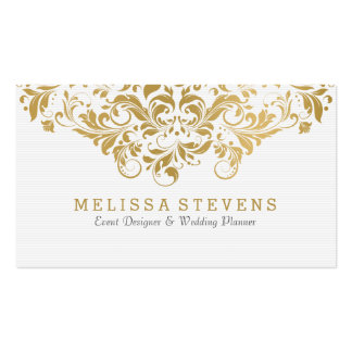White & Gold Vintage Floral Swirls Lace Business Card
