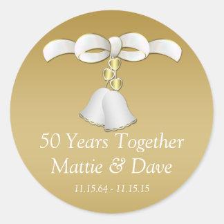 White Gold Wedding Bells 50th Anniversary Classic Round Sticker