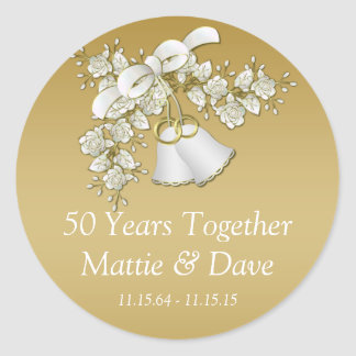White Gold Wedding Bells Flowers 50th Anniversary Classic Round Sticker