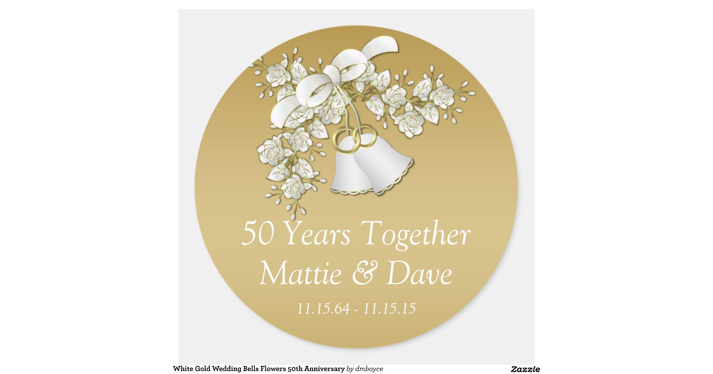 white gold wedding bells flowers 50th anniversary classic
