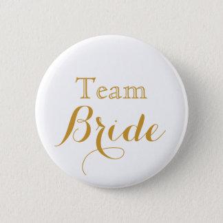 white Gold Wedding Team Bride Button