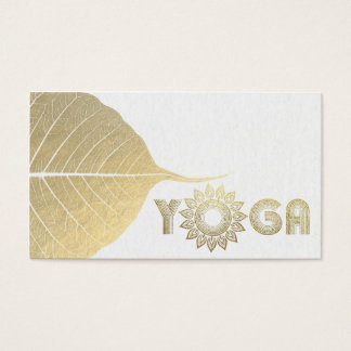 White & Gold Yoga Mediation Mandala Bodhi Leaf Business Card