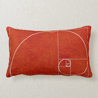 White Golden Spiral on Red Watercolor Wash Lumbar Pillow