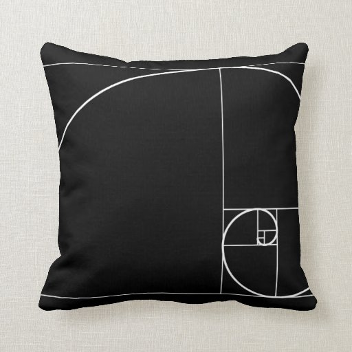 White Golden Spiral Throw Pillow