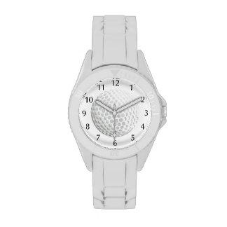 White golf ball for golfer - handicap or not! wristwatch