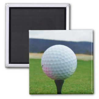 white Golf Ball on a mountain golf course Refrigerator Magnet