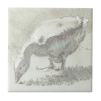 White Goose drawing Tile