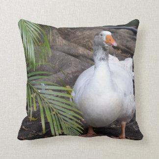White Goose standing near fronds Throw Pillow