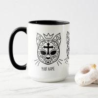 White Goth sugar skull kitty cat with your name Mug