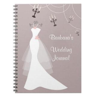 White gown on dark pink Wedding Planner Notebook