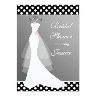White gown on gray, polka dot Bridal Shower Card