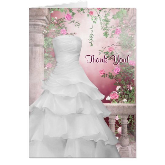 White Gown Pink Rose Thank You Cards